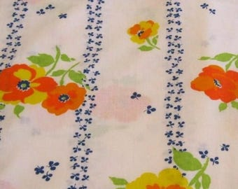 One Yard of Vintage Sheet Fabric.  Blue and orange floral mod