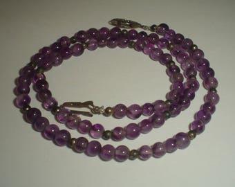 Amethyst necklace small beads bead purple vintage