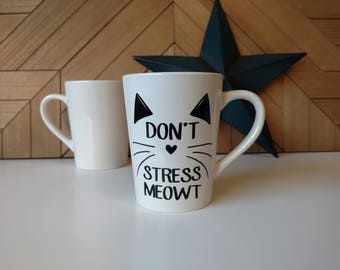 Don't Stress Meowt // Coffee Mugs with Sayings // Personalized Ceramic Mugs // Tea Cup // Mom Life // #momboss // Kitty Cats