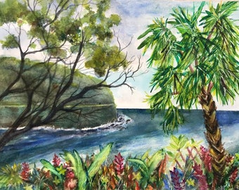 Original Watercolor by Janet Dosenberry,The Colorful,Tropical PalmTree Seascape Showing the Road to Hana in Maui, Hawaii