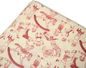 Pink and Ivory Childrens Vintage Cotton Fabric, Michael Miller Time to Play, Rocking Horse Fabric, 1 yard available, quiltsy destash party