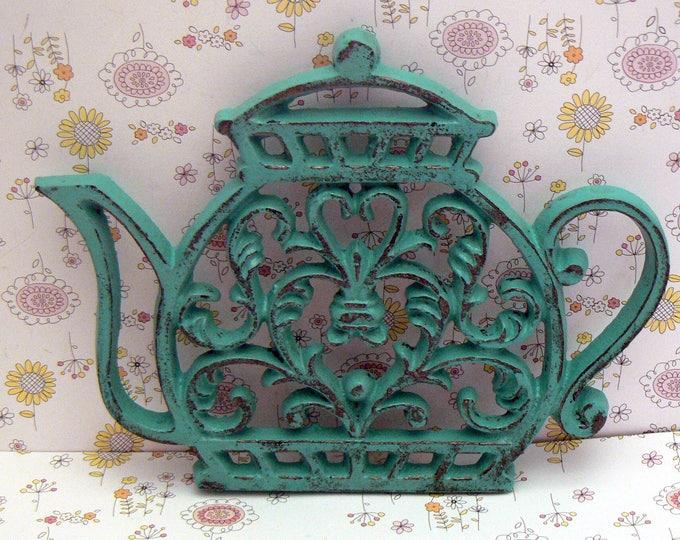 Teapot Cast Iron Trivet Hot Plate Aqua Shabby Chic Kitchen Decor