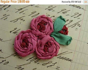 ONSALE Beautiful Intoxicating Vintage Victorian Silk Ribbon Embroidery Luxurious Appliqué Mint Condition