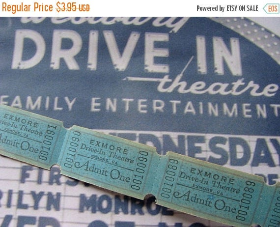 ONSALE Vintage Antique  Drive In Theatre Tickets