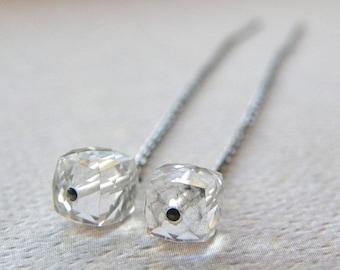 Summer Sale 20% Off Crystal Quartz Threader Earrings, Cube Quartz Drop Earrings, Bridal Earrings, Dainty Petite Earrings