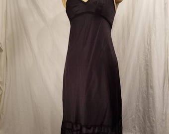 Black vintage slip, tall 36, Lorraine, nylon
