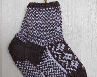 Handknitted norwegian socks in brown and white for children