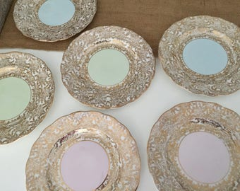Floral Plates Set of 6 Gold Edge Bone China Vintage Colclough China Made in Longton England Pastel Pink Green Blue