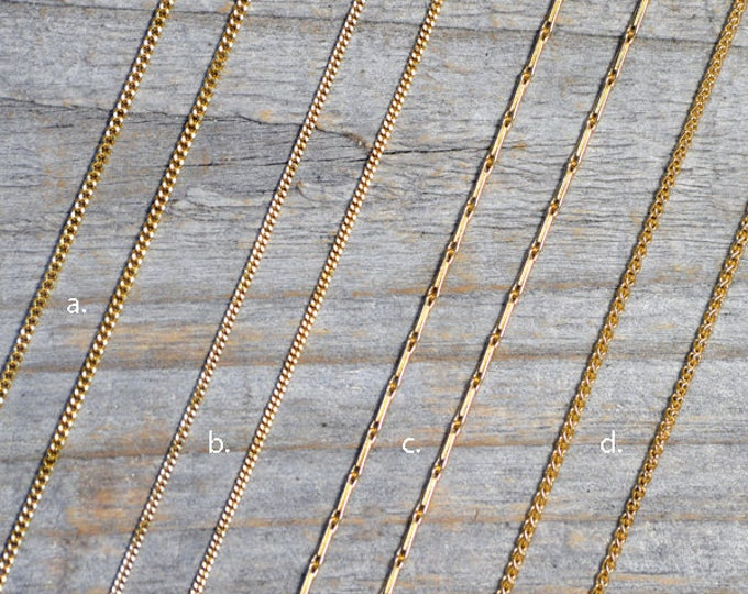 "Solid 18ct Yellow Gold Chain, Diamond Cut Curb Chain, Barleycorn Chain, Spiga Chain, 16"", 18"", Made In England"