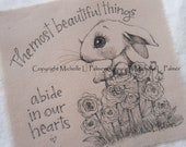 Michelle Palmer Fine Art Ink Illustration on Tea Stained Muslin Meadow Field Bunny Rabbit Hare English Antique Roses Flowers Abide my heart