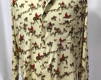 Vintage 70s Novelty Print Fox Hunt Shirt Large XL
