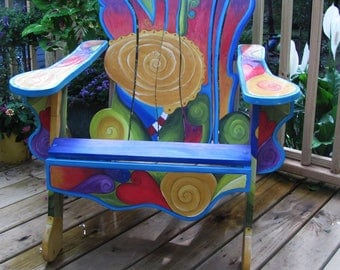 PAINTED CHAIR   Custom Adirondack Chair   Unique Handmade Chair   Funky Adirondack  Chair   Patio