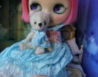 "Miniature 3"" Bear - Artist Teddy Bear Oatmeal German Mohair Stuffie Collectible for Blythe Doll"