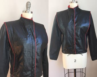 Vintage 1980s Ladies Black and Red Leather Moto Biker Jacket Size XS Small