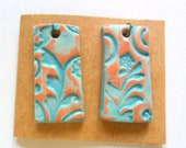 Distressed Turquoise Glaze over Small Terra Cotta Charm Findings Pair