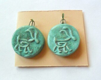 Petroglyph Goat Turquoise Glazed Charm Findings Pair