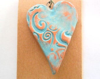 Distressed Turquoise Glazed Heart Pendant Finding