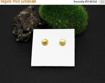 Christmas In July Sale - AAA Citrine Gemstone . Small 6mm Round Dome . Sterling Silver Posts Studs Earrings . Honey Yellow . E16066