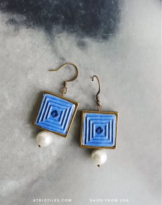 Earrings Portugal Tile Azulejo Portuguese Antique FRAMED Albergaria-a-Velha (see facade photo) Blue Gift boxed Ships from USA 813