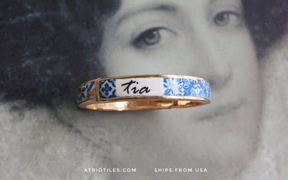 Tia Aunt BRACEleT - Portugal Antique 17th century Azulejo Tile Replicas - Blue Gold-  Ericeira and Braga PRE ORDER