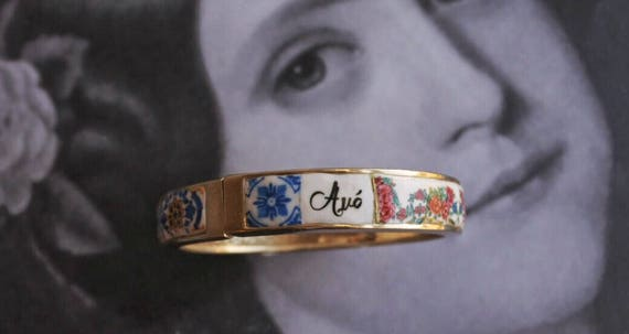 Avó Grandmother BRACEleT - Mother's Day Portugal Antique 17th century Azulejo Tile Replicas - Blue Gold-  Ericeira PRE ORDER