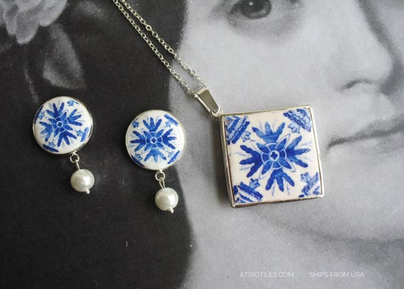 Silver Necklace Set Earrings Portugal Post Tile Azulejo Portuguese Antique Porto Blue - Framed - Gift Box - Reversible SHIPS from USA 1639