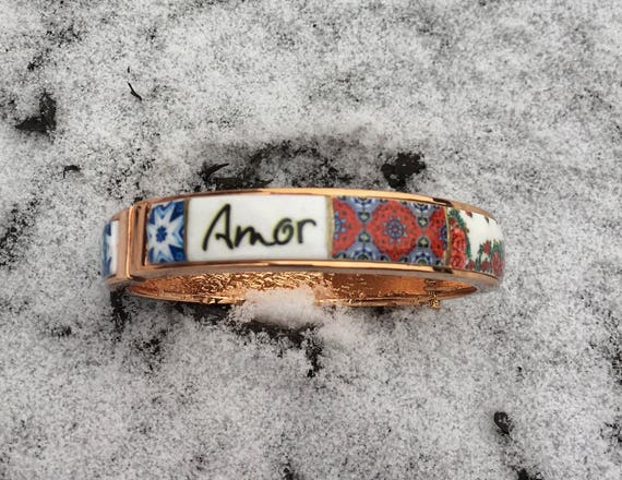 AMOR Love BRACEleT Bangle Portugal  Tile Antique Azulejo Tile Replicas - Ships from USA - Gift Box included