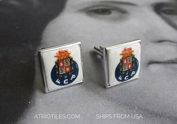 Porto Silver Cuff Links 925 Portugal - Gift Box Included Gift for Him - Ships from USA Soccer Futebol