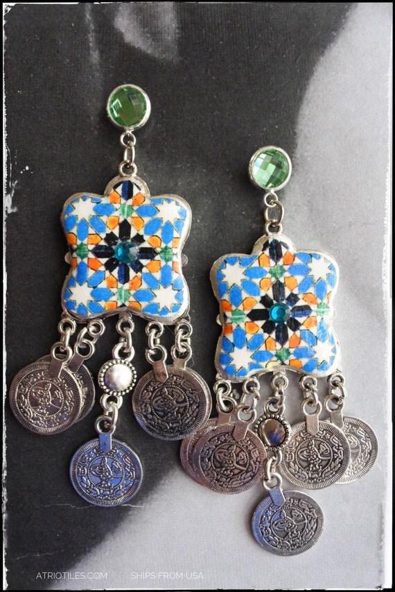 Earrings Portugal 16th Century Hispano-Arab Azulejo Arista Tile Monastery Santa Clara Coimbra 1314 Zellige Sintra  Persian Bohemian Morrocan