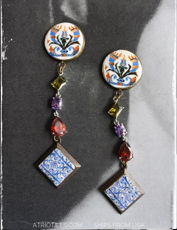 Earrings Tile Arab Hispanic Portuguese Portugal 16th Century Azulejo Persian Santa Clara in Coimbra, 1314 and Aveiro Blue Cubic Zirconia