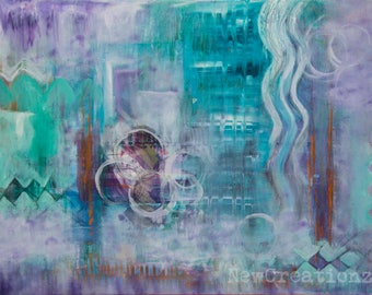 Original abstract painting, turquoise and purple art, expressive art, intuitive art, office wall art, living room decor, arty home decor