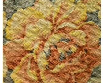 Vintage Barkcloth Roses Fabric Nubby Shabby