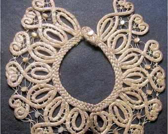 Antique Victorian Collar Metallic Lace Glass Jewels