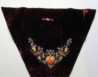 Antique Velvet Appliques Embroidery Pair RARE