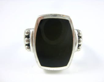 Size 7 1/4 Vintage Sterling Silver Onyx Ring