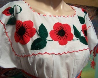 Mexican Blouse, Embroidered Blouse, White, Red Flowers, Blouse, Frida Kahlo size L