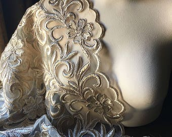 Gold Champagne Lace Fabric for Grad,  Mother of the Bride, Skirts, Evening Wear