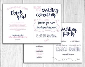 Paper Airplane design Bifold Wedding Program, Marriage Ceremony Programs, Modern