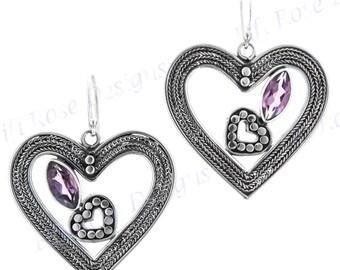 """1 1/4"""" 2ct Heart Amethyst 925 Sterling Silver Earrings"""
