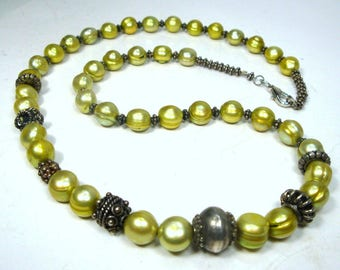 Lime Green Pearl Necklace, Single Strand Silver Assorted Beads with Fresh Water REAL Pearls , Tribal Fem, 1990s