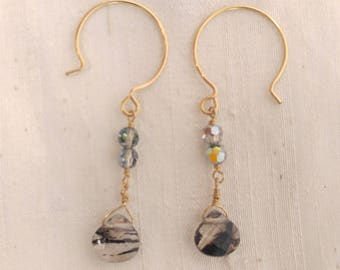 14k GF Zebra Quartz and Grey AB Earrings