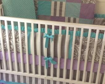 Baby Bedding Crib Set Lavender Aqua Gray Paisley