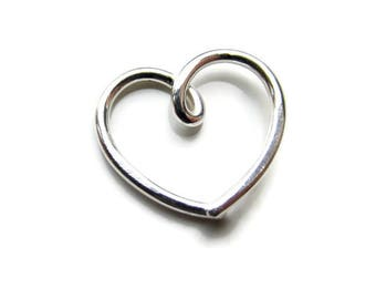 Silver Daith Heart Earring for Daith Helix Eyebrow Piercing, 16Gauge or 18Gauge, Single ( 1 ) One