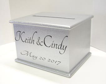 Wedding Card Box With Lock Option, Custom Card Box, Silver Glitter, Personalized Large Wooden Card Box, Wedding Decor, Donation Box, On Sale