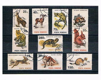 Vintage Woodland Animal Postage Stamps | squirrel, mouse, fox, hare, European wildlife, Romania stamps, thematic postal stamps craft collect