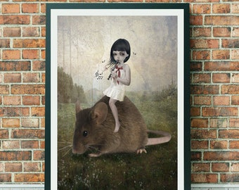 Fairytale Art Print - Pied Piper - Girl & Mouse - Pied Piper Art - Big Eyes Art - Wall Decor