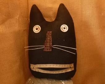 PRIMITIVE-RUSTIC-Halloween-Fall-Cat- Cat Pillow-Shelf Sitter, Folk Art Pillow