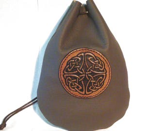 Taller light Brown leather Celtic runes coin dice pouch bag  Medieval Celtic