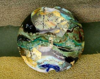 "Handmade Lampwork Beads ""Tri-Metallic Landscape"" SRA Glass Focal Bead Lentil ~ OOAK Unique"