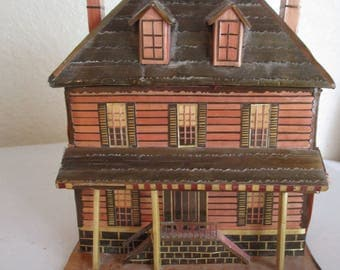 Vintage Victorian House Trinket Gift Box Secret Hidden Compartment Miniature House Wheat Straw Tiny House Shaped Figural Box REO Company